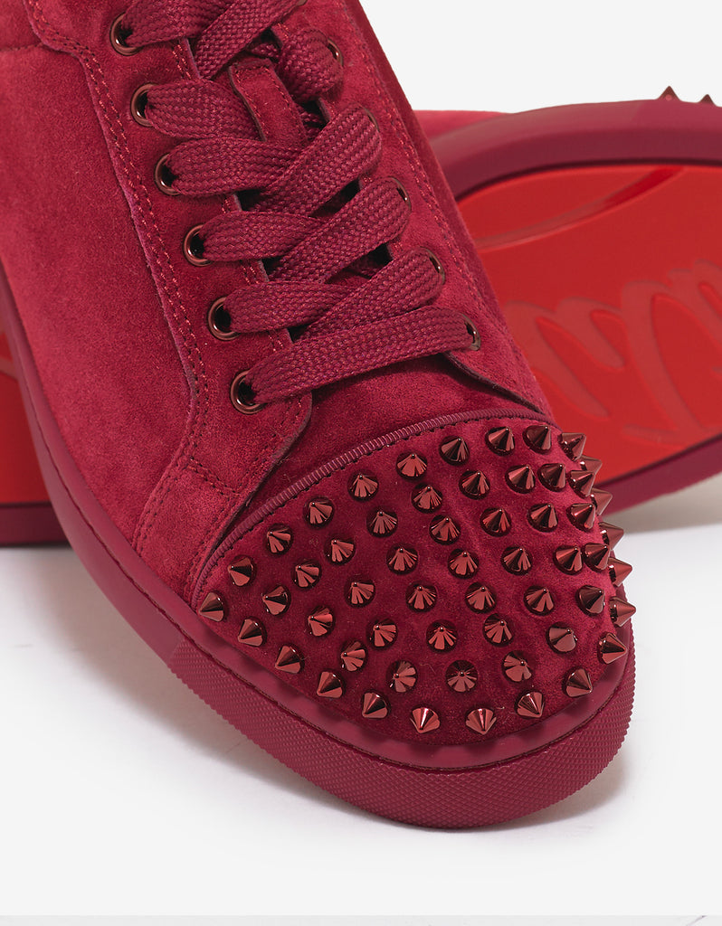 575710b1ce2 Christian Louboutin Louis Junior Spikes Flat Sanguine Red Suede ...