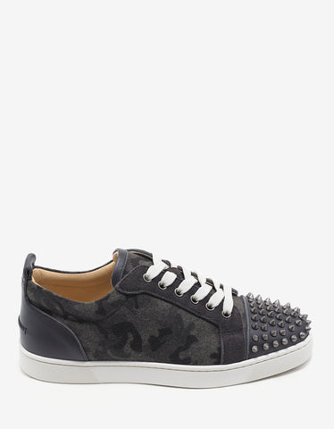 Christian Louboutin Louis Junior Spikes Grey Camouflage Trainers