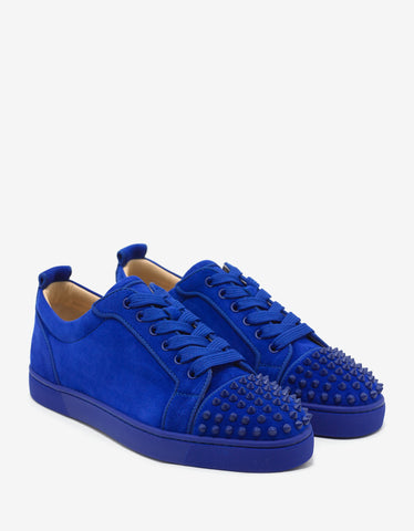 Christian Louboutin Louis Junior Spikes Orlato Atlantic Blue Suede Trainers