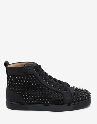 Christian Louboutin Louis Orlato Flat Black Moiré Spikes High Top Trainers