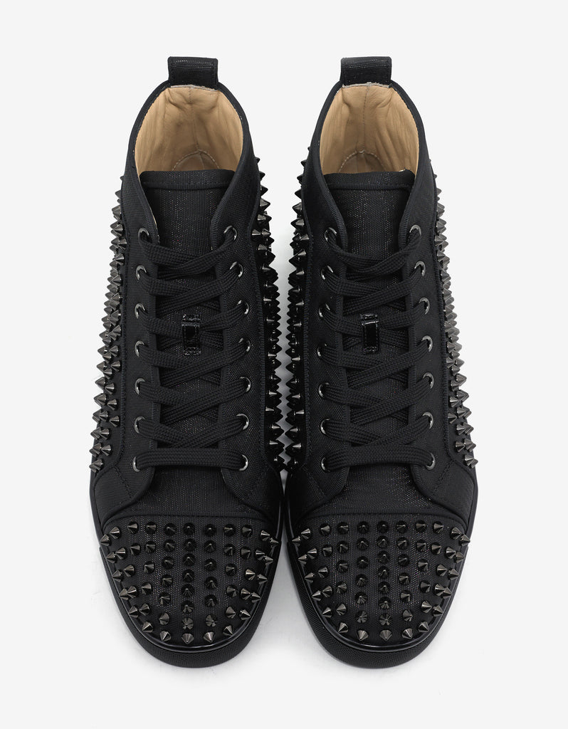 Louis Orlato Flat Black Moiré Spikes High Top Trainers