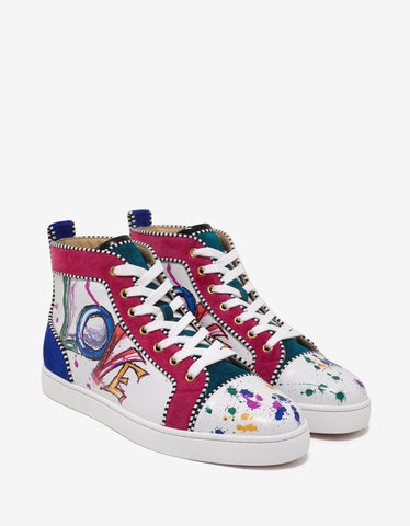 Christian Louboutin Louis Orlato Flat Love Print High Top Trainers