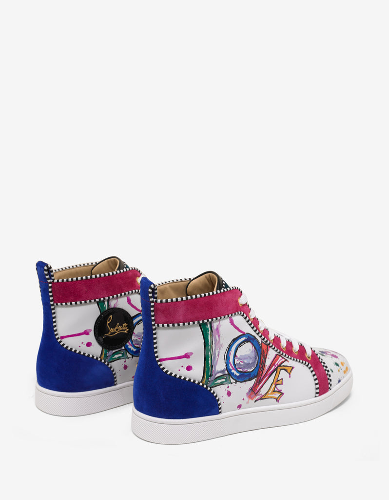 huge selection of fb016 23edb Louis Orlato Flat Love Print High Top Trainers
