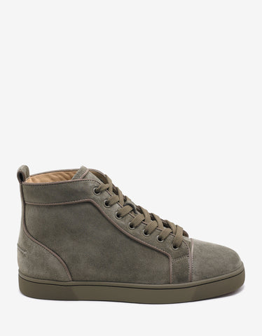 Christian Louboutin Louis Orlato Flat Poivre Vert Suede High Top Trainers