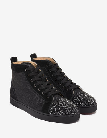 Christian Louboutin Louis P Strass Flat High Top Trainers