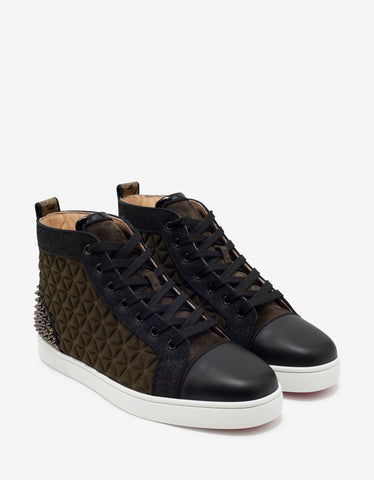Christian Louboutin Louis Spikes III Waffle Neoprene High Top Trainers