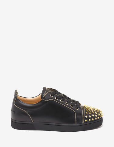 Christian Louboutin Junior Zip Spikes Flat Black Leather Trainers