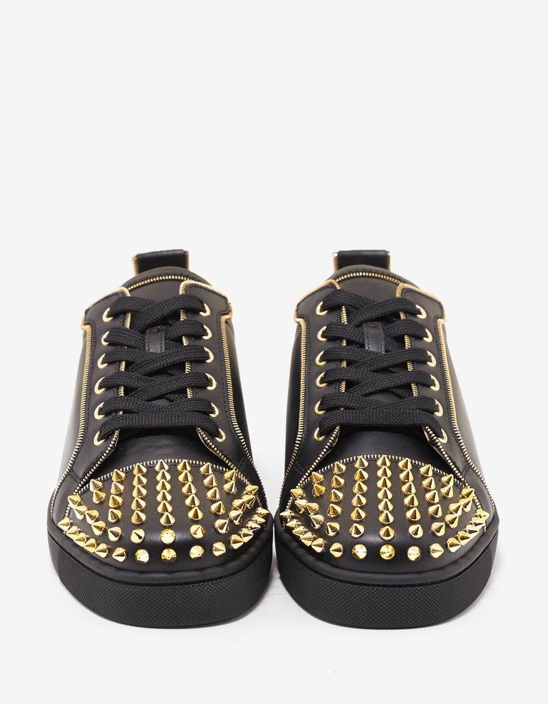 4c533414084c Christian Louboutin Junior Zip Spikes Flat Black Leather Trainers ...