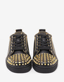 Junior Zip Spikes Flat Black Leather Trainers