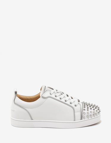 Christian Louboutin Junior Zip Spikes Flat White Leather Trainers