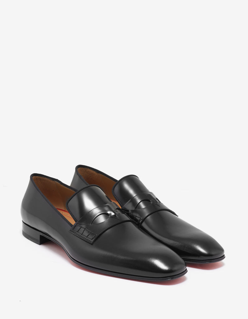 quality design 12686 ded65 Magicien Flat Black Leather Loafers