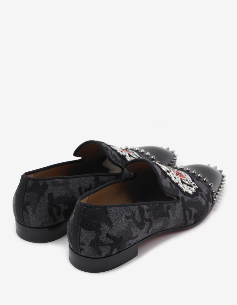 Medievalo 'Loubi For Ever' Grey Camo Flannel Loafers