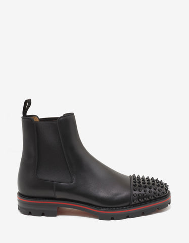 Christian Louboutin Melon Spikes Flat Black Leather Chelsea Boots