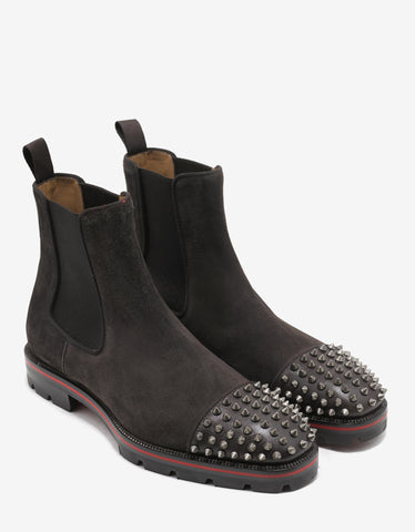 Christian Louboutin Melon Spikes Flat Brown Suede Chelsea Boots