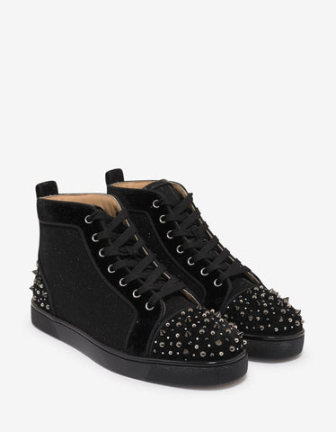 Christian Louboutin Milkylouis 2 Black Glitter Tennis High Top Trainers