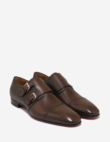 Christian Louboutin Mortimer Flat Patina Leather Monk Strap Shoes