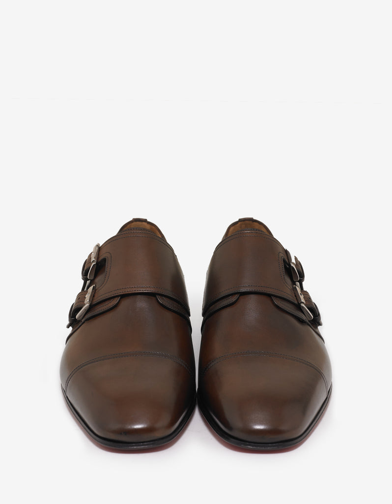 Mortimer Flat Patina Leather Monk Strap Shoes