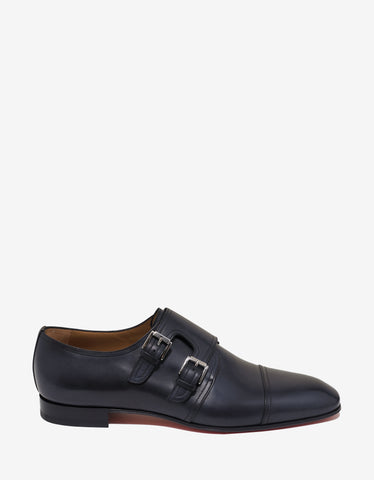 Christian Louboutin Mortimer Flat Patina Leather Navy Monk Strap Shoes