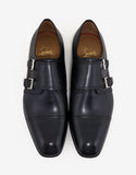 Mortimer Flat Patina Leather Navy Monk Strap Shoes
