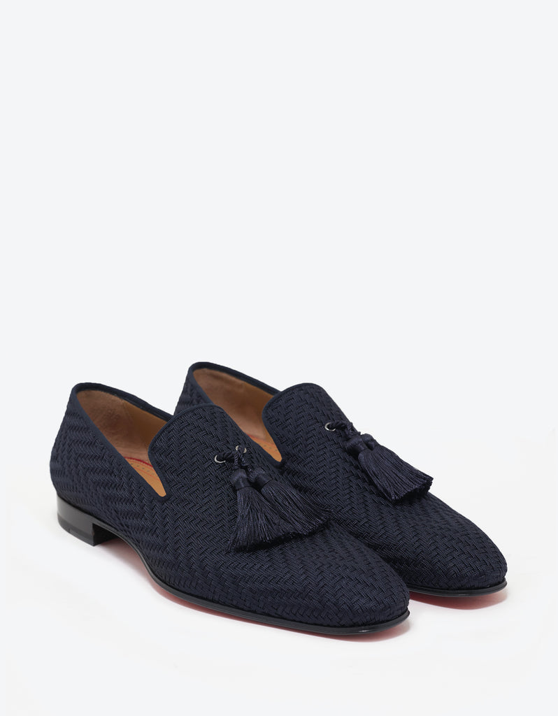 Officialito Flat Navy Blue Woven Loafers
