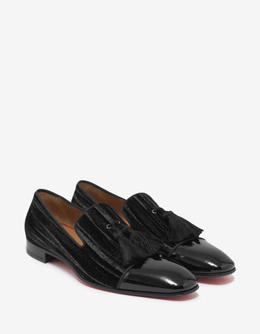 Christian Louboutin Officialito P Flat Velvet & Leather Loafers