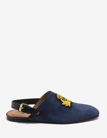 Christian Louboutin Oliveira Flat Navy Blue Suede Slippers
