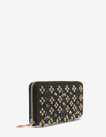 Christian Louboutin Panettone Black Leather Loubinthesky Spikes Wallet
