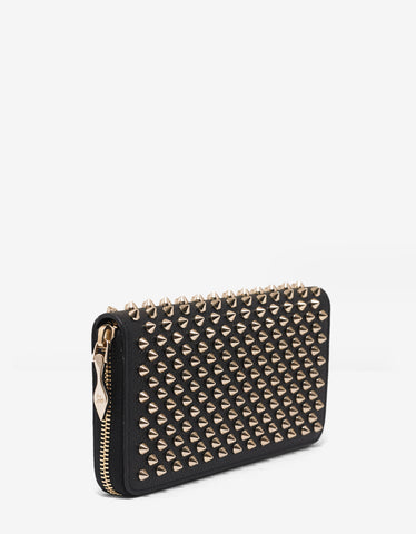 Christian Louboutin Panettone Black Wallet with Gold Spikes