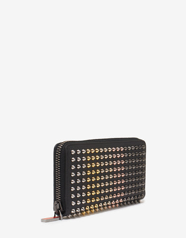 Christian Louboutin Panettone Black Wallet with Multicolour Spikes