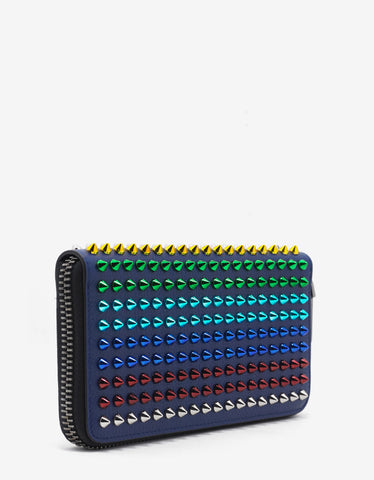 Christian Louboutin Panettone Blue Grain Leather Multicolour Spikes Wallet