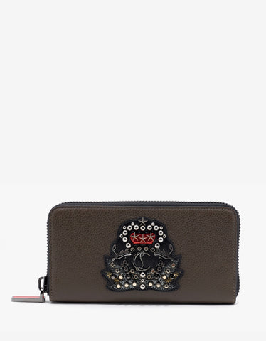 Christian Louboutin Panettone Cafe Brown Leather Wallet with Crest