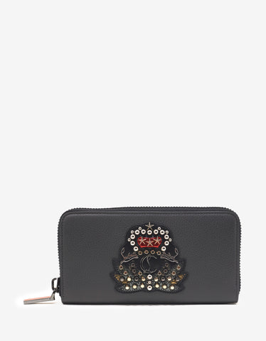 Christian Louboutin Panettone Charbon Grey Leather Wallet with Crest