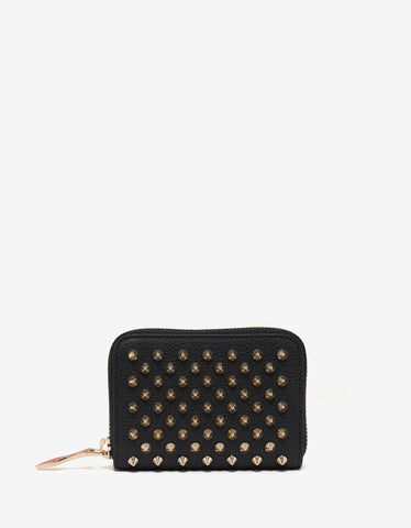 Christian Louboutin Panettone Coin Purse Black Wallet with Gold Spikes