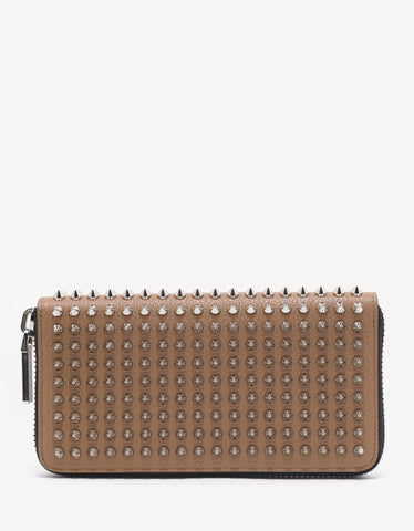 Christian Louboutin Panettone Dune Beige Leather Spikes Wallet