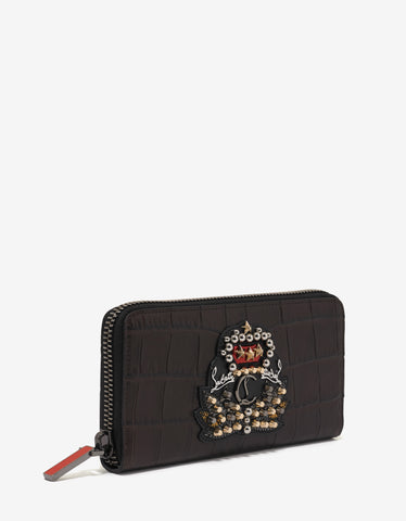 Christian Louboutin Panettone Ebony Croc Embossed Leather Wallet