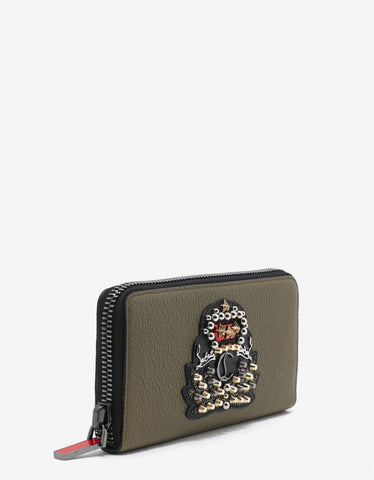 Christian Louboutin Panettone Poivre Vert Leather Wallet with Crest
