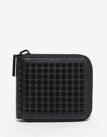 Christian Louboutin Panettone Square Black Leather Spikes Wallet