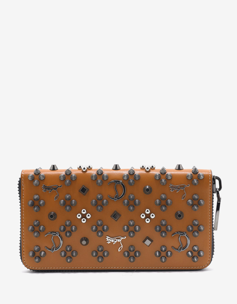 Panettone Tan Leather 'Loubinthesky' Spikes Wallet
