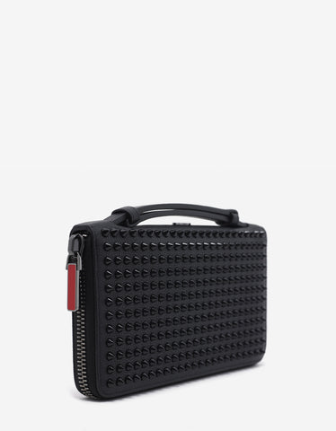 Christian Louboutin Panettone XL Black Leather Spikes Wallet