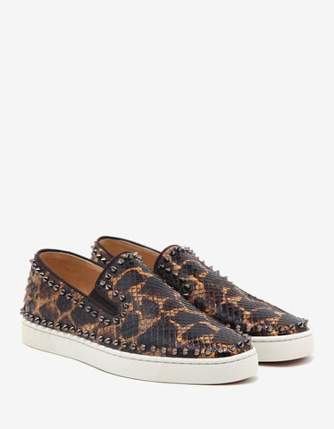 Christian Louboutin Pik Boat Flat Safari Python Leather Trainers
