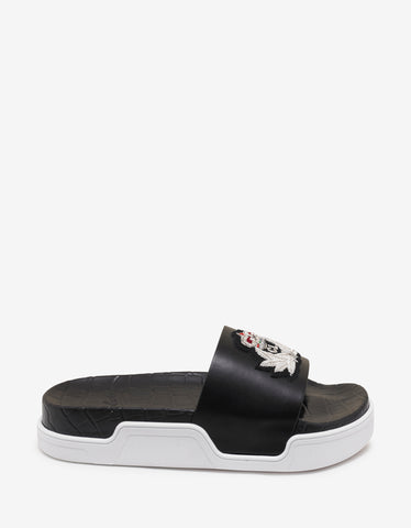 Christian Louboutin Pool Beau Flat Black Slide Sandals