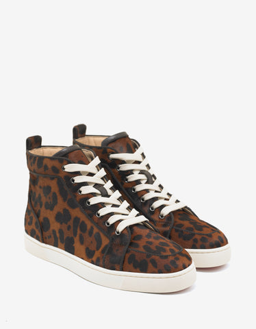 Christian Louboutin Rantus Orlato Leopard Print Pony Hair High Top Trainers