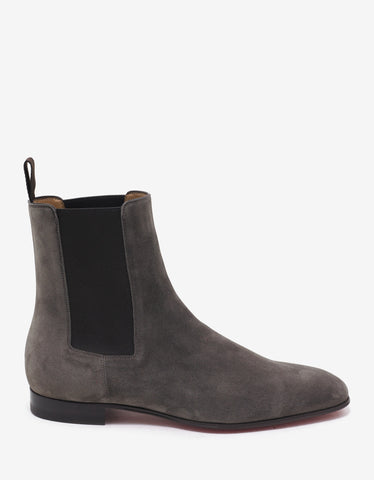 Christian Louboutin Roadie Flat Roche Taupe Suede Chelsea Boots