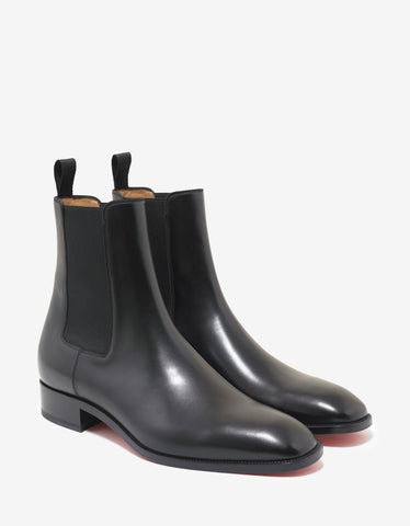 Christian Louboutin Samson Flat Black Leather Chelsea Boots