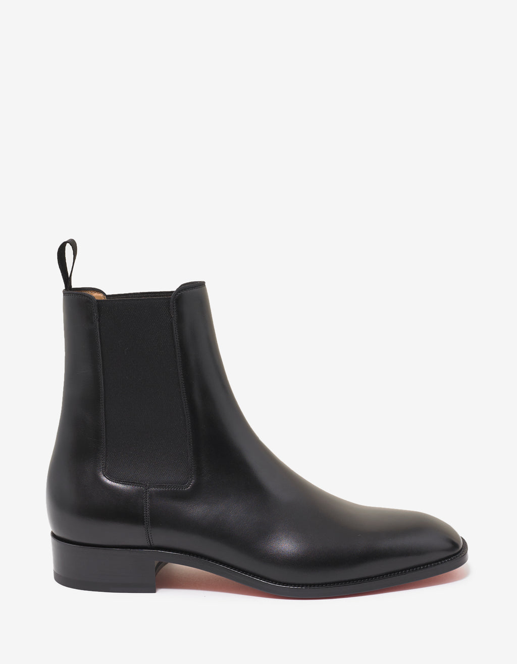 Samson Flat Black Leather Chelsea Boots