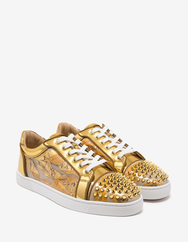 Christian Louboutin Seavaste Spikes Flat Ruban CL Gold Trainers
