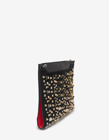 Christian Louboutin Skypouch Black Suede Spikes & Cubes Bag