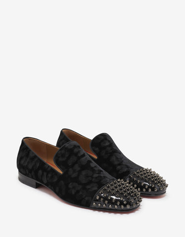 Black Medusa Embroidery Satin Loafers