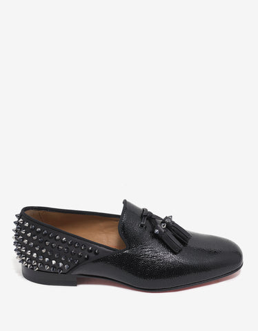Christian Louboutin Tassilo Flat Caviar & Calf Leather Spikes Loafers