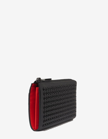 Christian Louboutin Tinos Long Black Leather Spikes Wallet